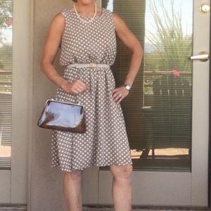 Vintage polka dot taupe dress